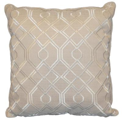 Geo Ivory Geometric Polyester 18 in. x 18 in. Throw Pillow