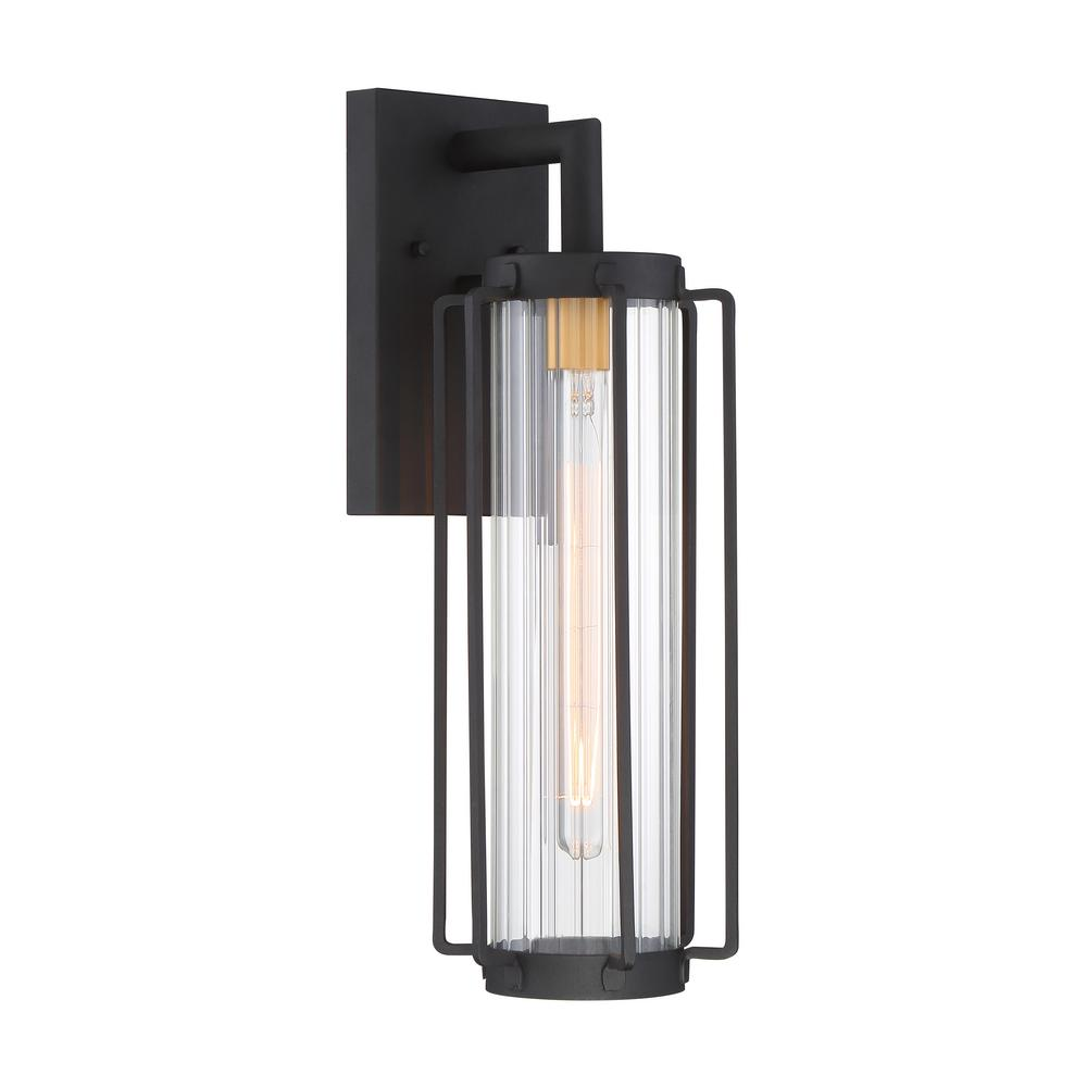 Avonlea Large 1-Light Sand Black with Gold Outdoor Light Wall Lantern Sconce