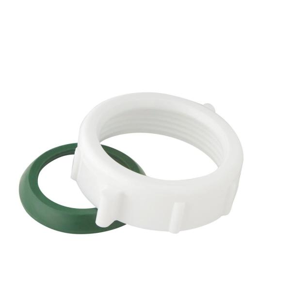 Everbilt 1 1 2 In Sink Drain Pipe Plastic Slip Joint Nut With Rubber Reducing Washers C2698c The Home Depot