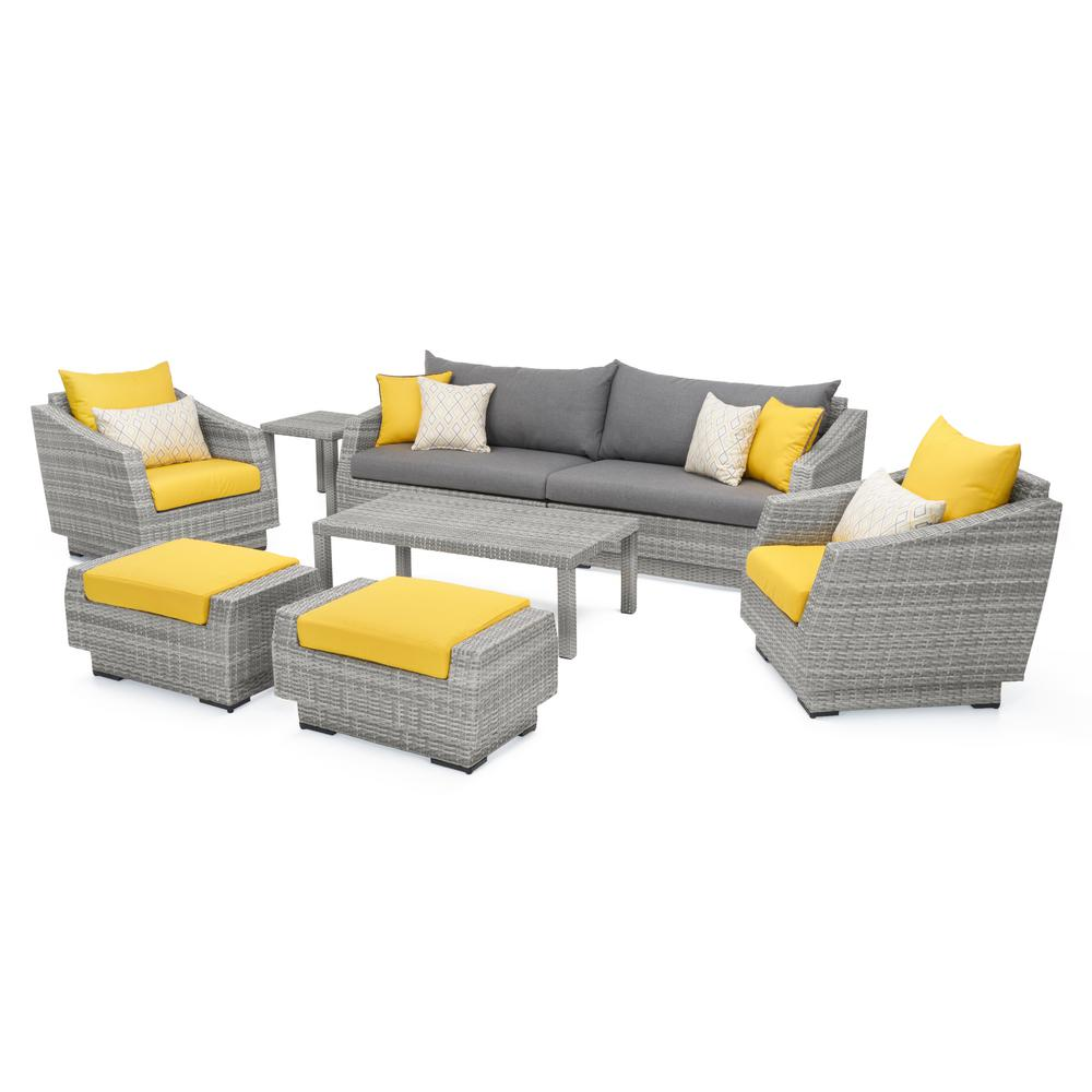 Super Rst Brands Cannes 8 Piece All Weather Wicker Patio Sofa And Club Chair Seating Set With Sunbrella Sunflower Yellow Cushions Pdpeps Interior Chair Design Pdpepsorg