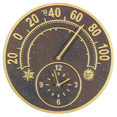 14 in. Solstice French Bronze Thermometer Clock