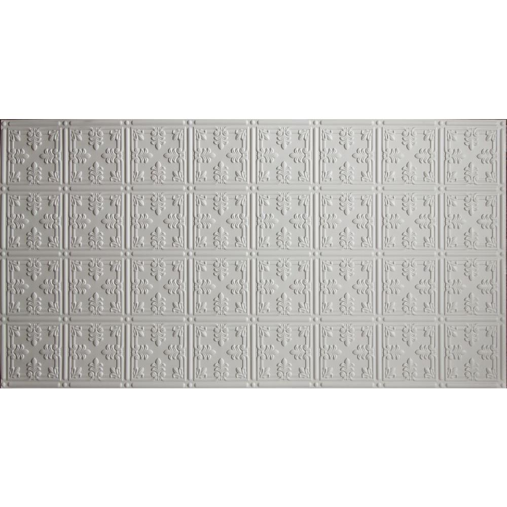 Global Specialty Products Faux 2 ft. x 4 ft. Glue-up Tin Style Surface Mount Ceiling Tile in White