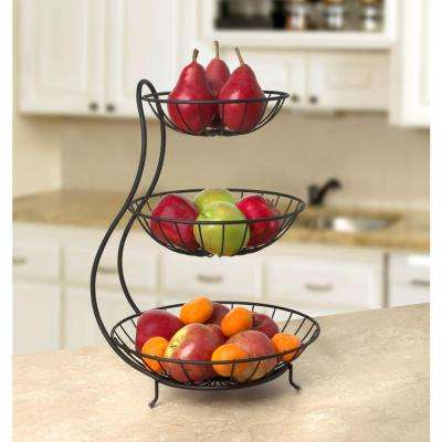 Yumi 19 in. x 12.75 in. x 13 in. Steel Arched 3-Tier Server in Black