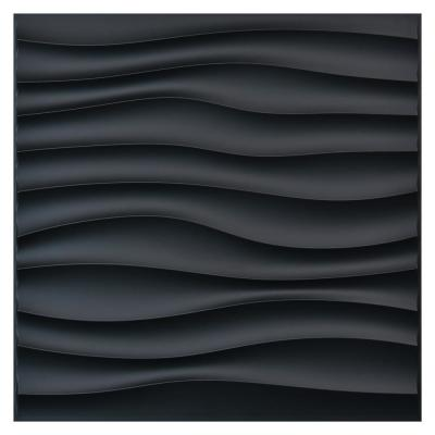 Wave 19.7 in. x 19.7 in. Black PVC 3D Decorative Wall Panels for Bathroom/Bedroom (12-pack)