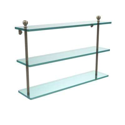 Mambo 22 in. L  x 15 in. H  x 5 in. W 3-Tier Clear Glass Bathroom Shelf in Antique Pewter