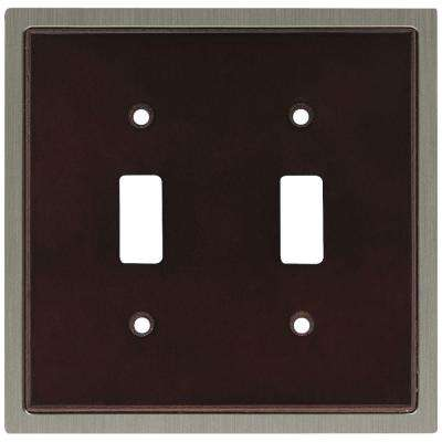 Insert Decorative Double Switch Plate, Espresso and Satin Nickel
