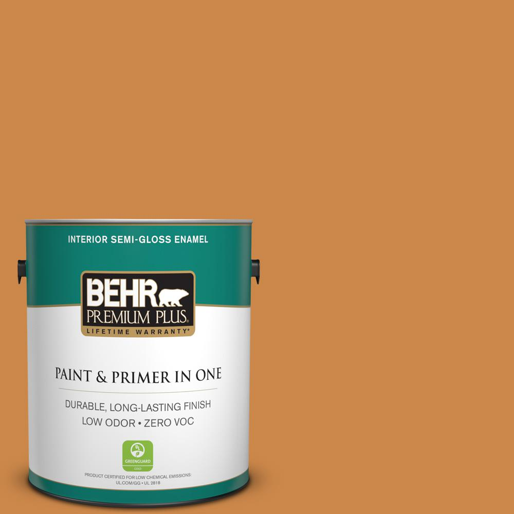 BEHR Premium Plus 1-gal. #M240-7 Golden Pumpkin Semi-Gloss Enamel Interior Paint