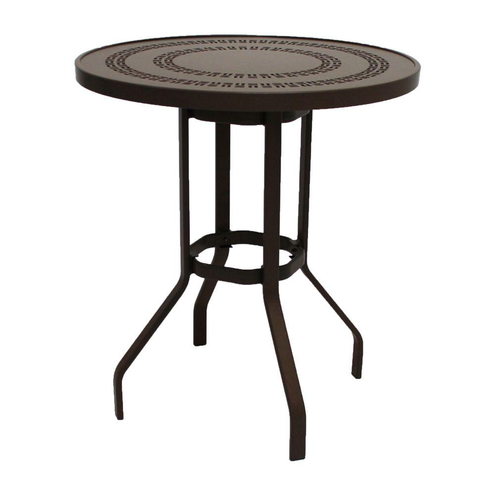 Marco Island 36 in. Dark Cafe Brown Round Commercial Aluminum Bar