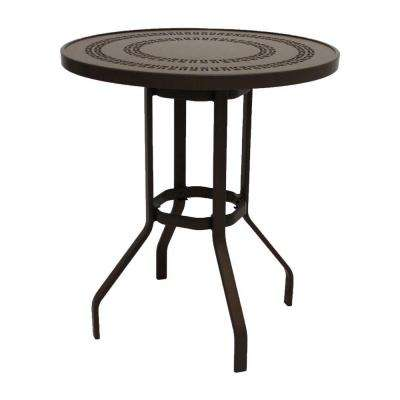 Marco Island 36 in. Dark Cafe Brown Round Commercial Aluminum Bar Height Outdoor Patio Dining Table