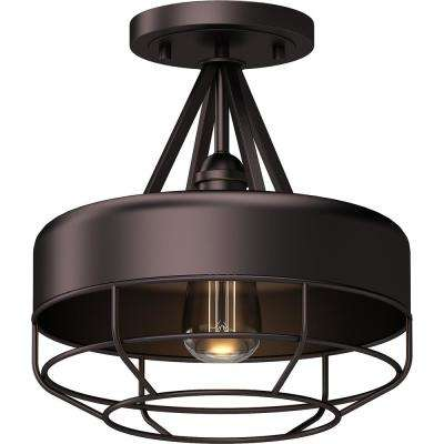 12 in. W x 12 in. H 1-Light Indoor Antique Bronze Industrial Semi-Flush Mount Ceiling Light Fixture with Wired Bowl