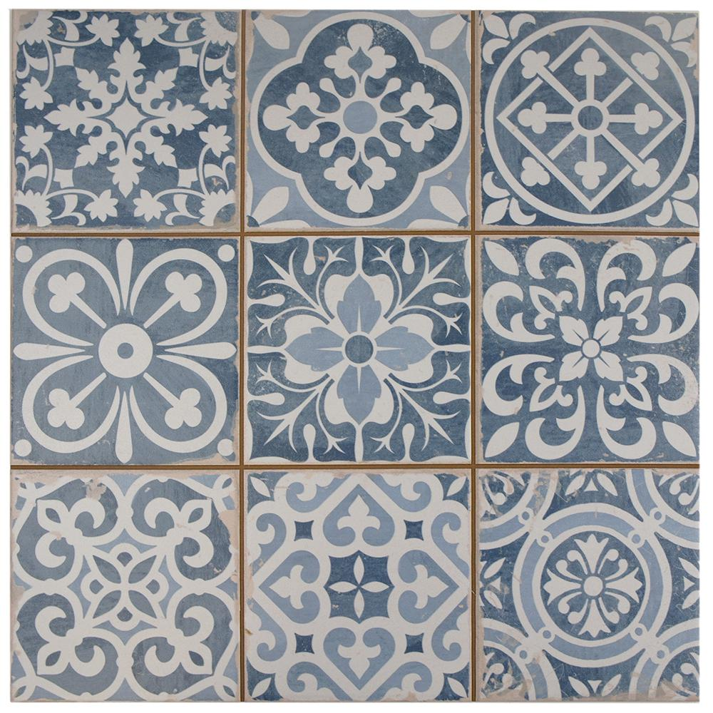 Merola Tile Faenza Azul Encaustic 13 In X 13 In Ceramic Floor And