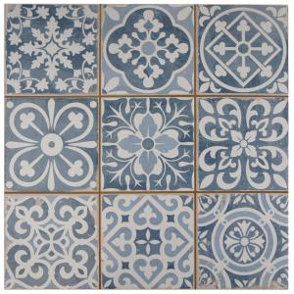 Merola Tile Faenza Azul Encaustic 13in. x 13in. Ceramic Floor & Wall Tile