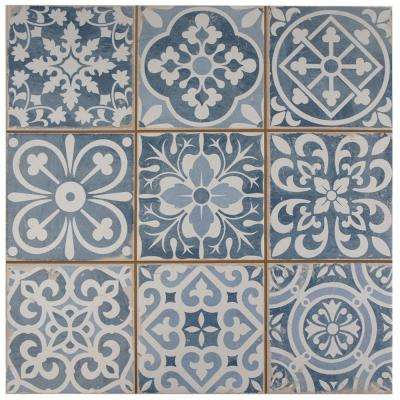 Za Azul Encaustic 13 In X Ceramic Floor And Wall Tile