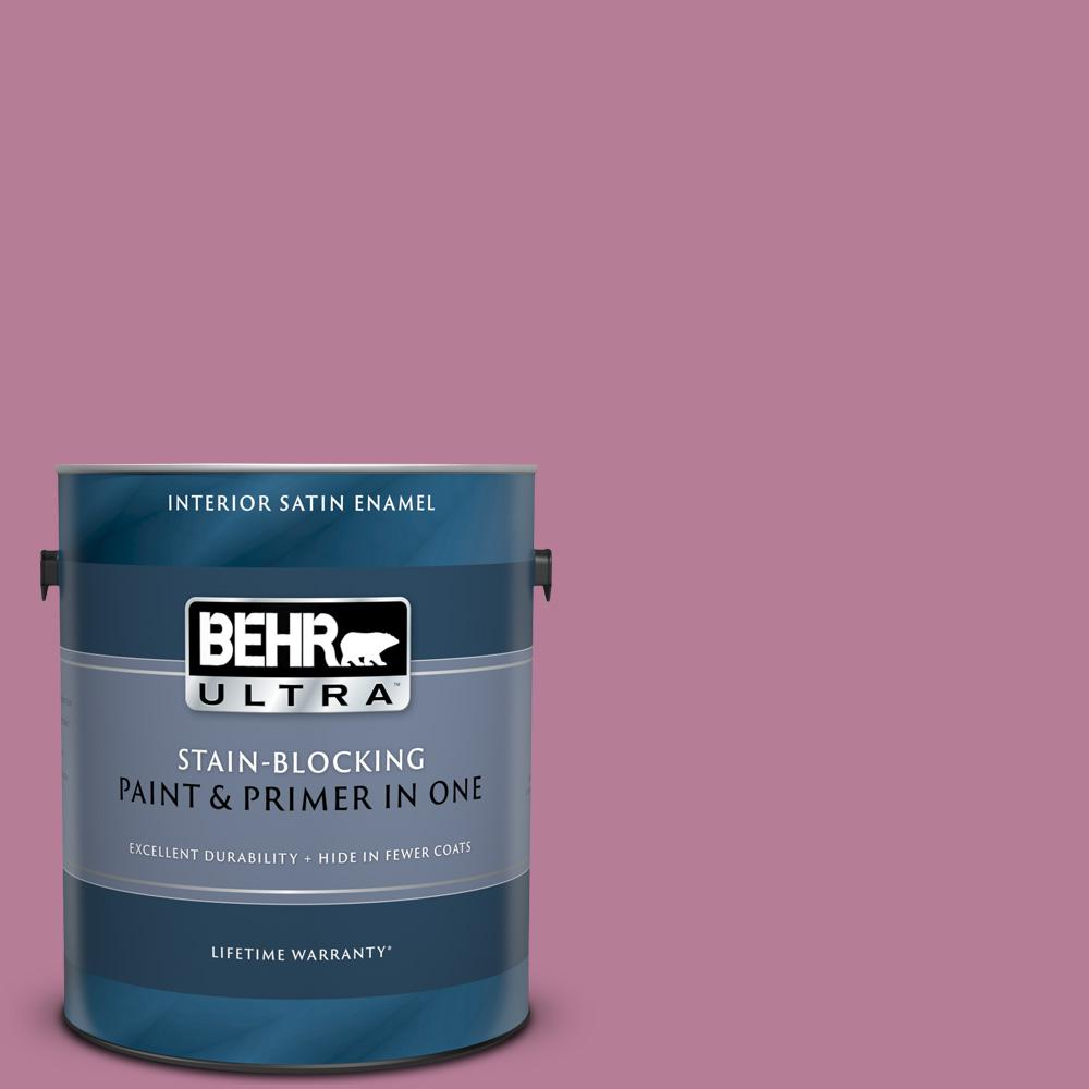 Behr Ultra 1 Gal M130 5 Cabaret Satin Enamel Interior Paint And Primer In One 775401 The Home Depot