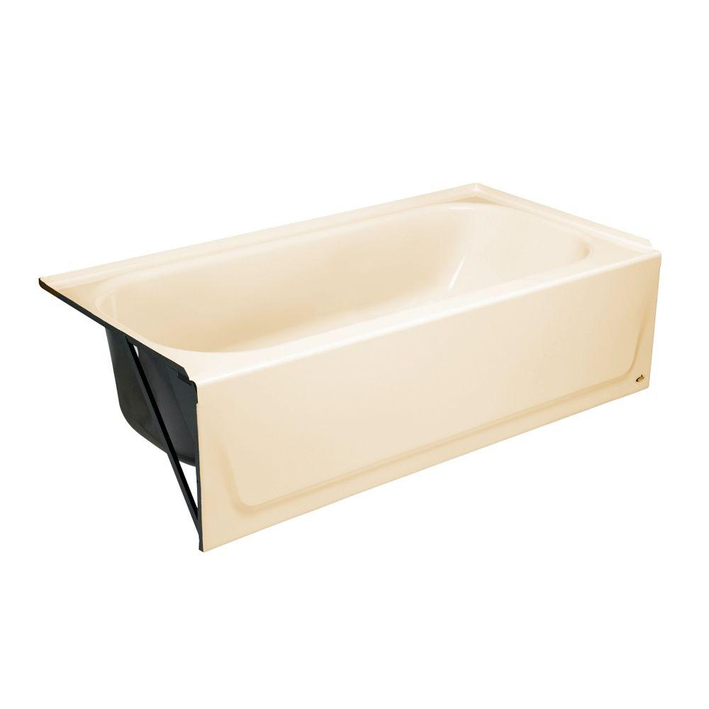 Maui 60 in. Left Drain Rectangular Alcove Soaking Bathtub in Bone