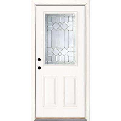 33.5 in. x 81.625 in. Mission Pointe Zinc 1/2 Lite Unfinished Smooth Right-Hand Inswing Fiberglass Prehung Front Door