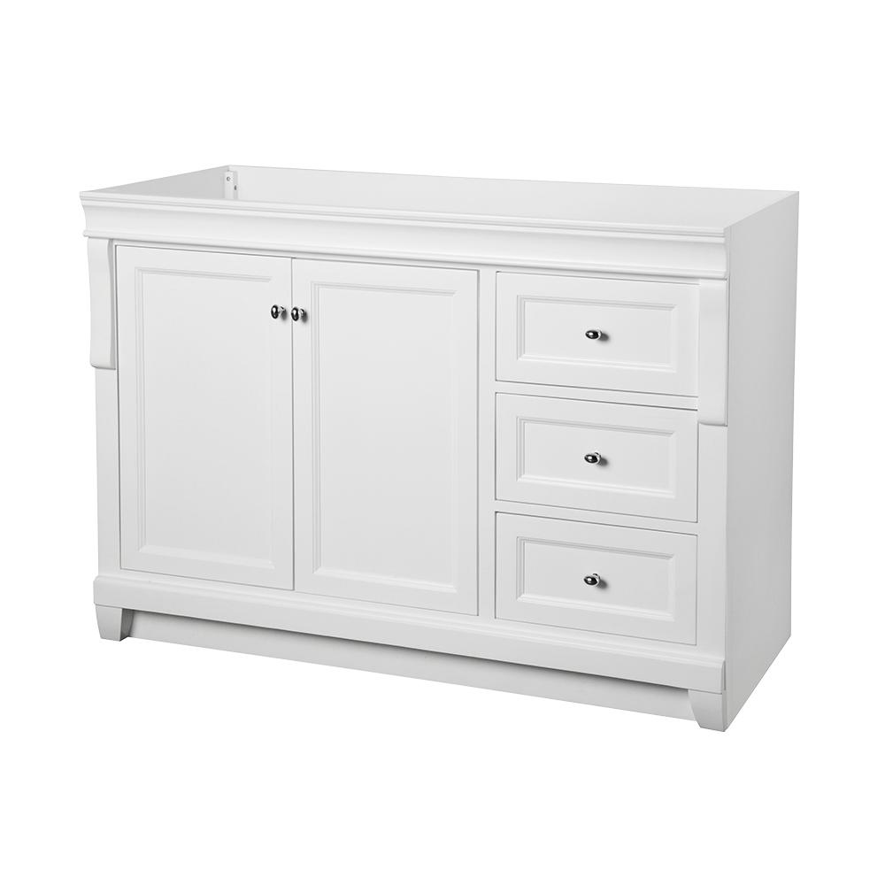 bathroom cabinet home depot foremost naples 48 in w bath vanity cabinet only in white 11061