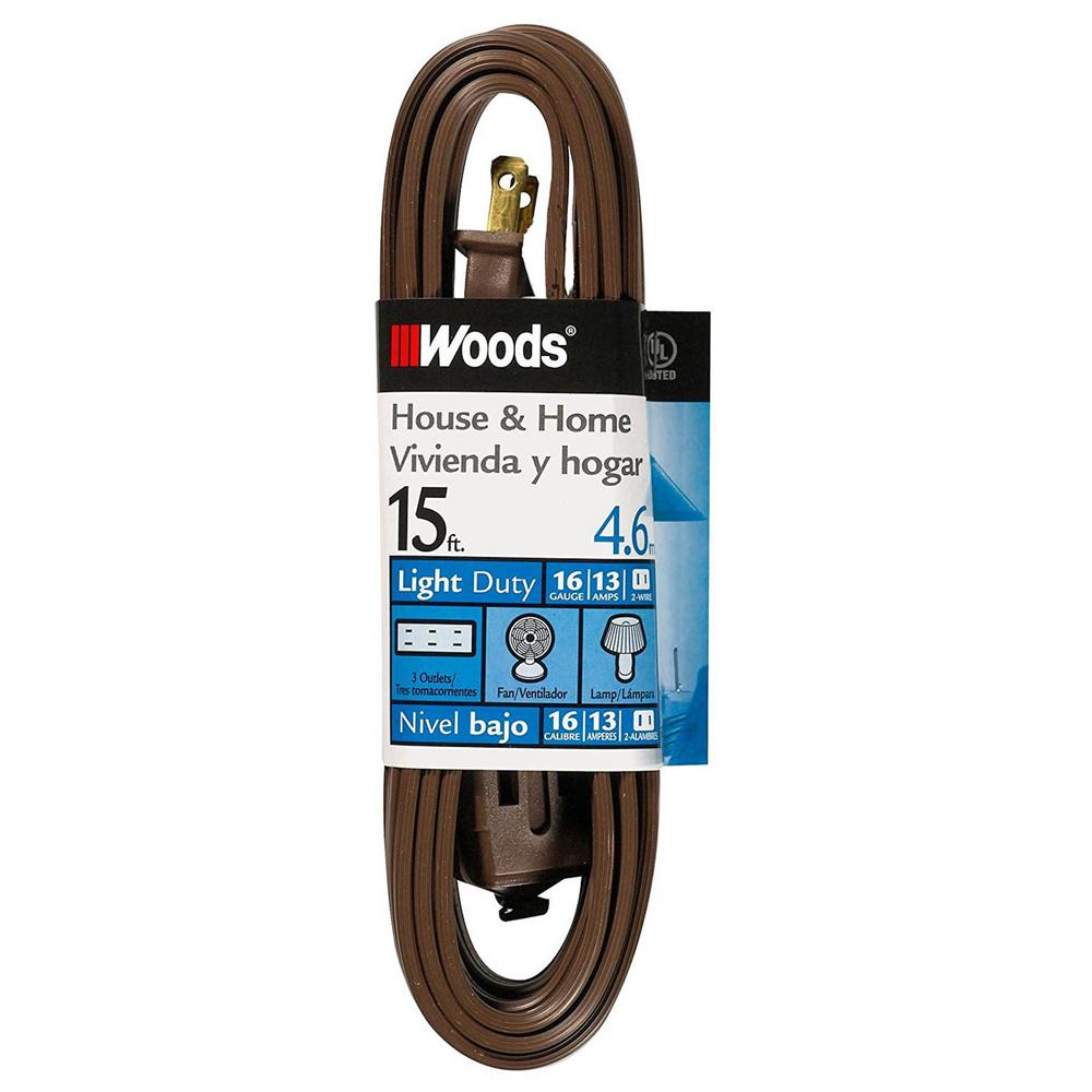 Woods 15 ft. 16/2 SPT-2 Multi-Outlet (3) Indoor Light-Duty Extension Cord with Safety Covered Cube Power Tap