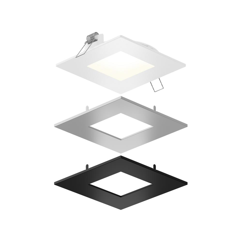 Illume Lighting 4 In Color Selectable New Construction Or Remodel Ic Rated Recessed Integrated Led Square Kit