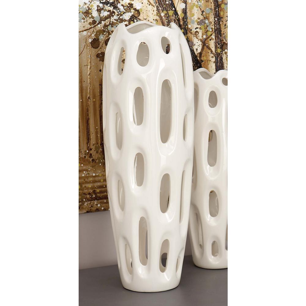 21 in. Sunken Oval Lacquered White Ceramic Decorative Vase