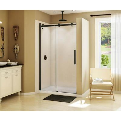 Halo 47 in. x 78-3/4 in. Frameless Sliding Shower Door in Dark Bronze