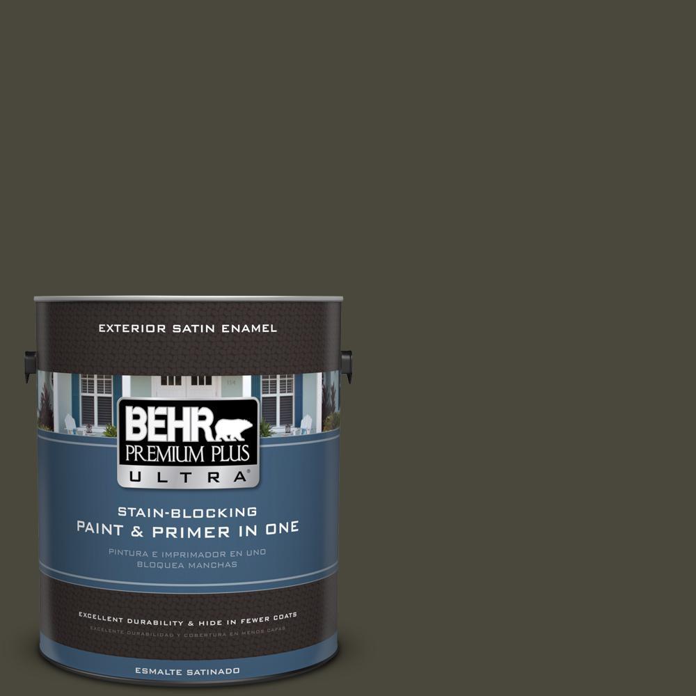 1 gal. #PPU24-01 Black Mocha Satin Enamel Exterior Paint and Primer