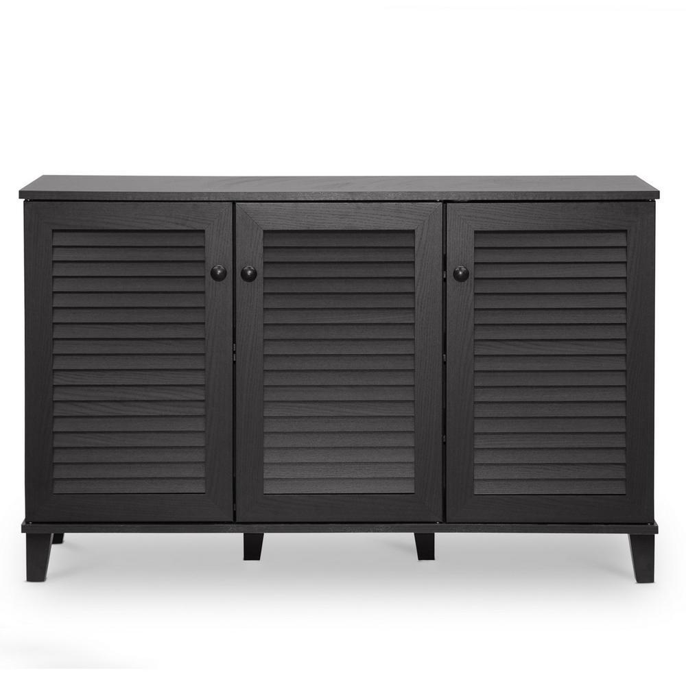 Warren Wood Shoe Storage Cabinet in Dark Brown