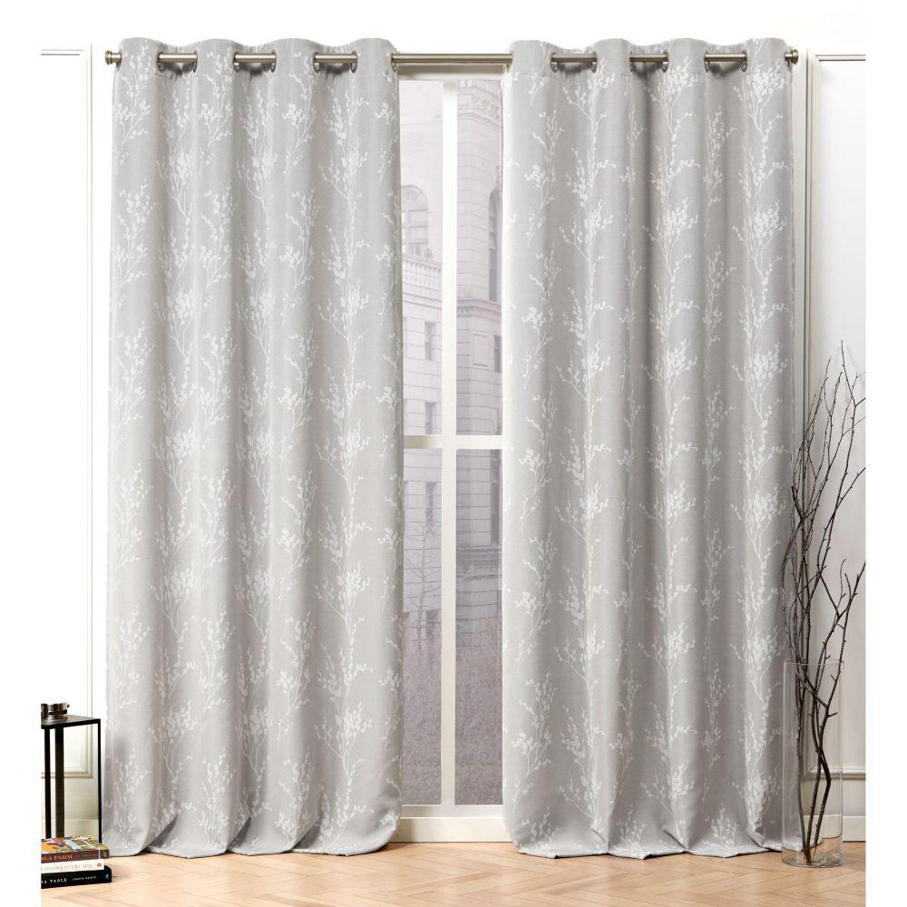 Nicole Miller Turion Dove Grey Blackout Grommet Top Curtain Panel 52 In W X 96 In L 2 Panel