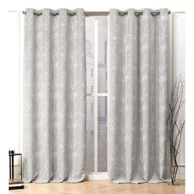 Turion Dove Grey Blackout Grommet Top Curtain Panel - 52 in. W x 96 in. L (2-Panel)