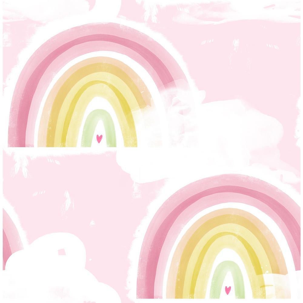 Seabrook Designs Kids Blush Rainbows Wallpaper
