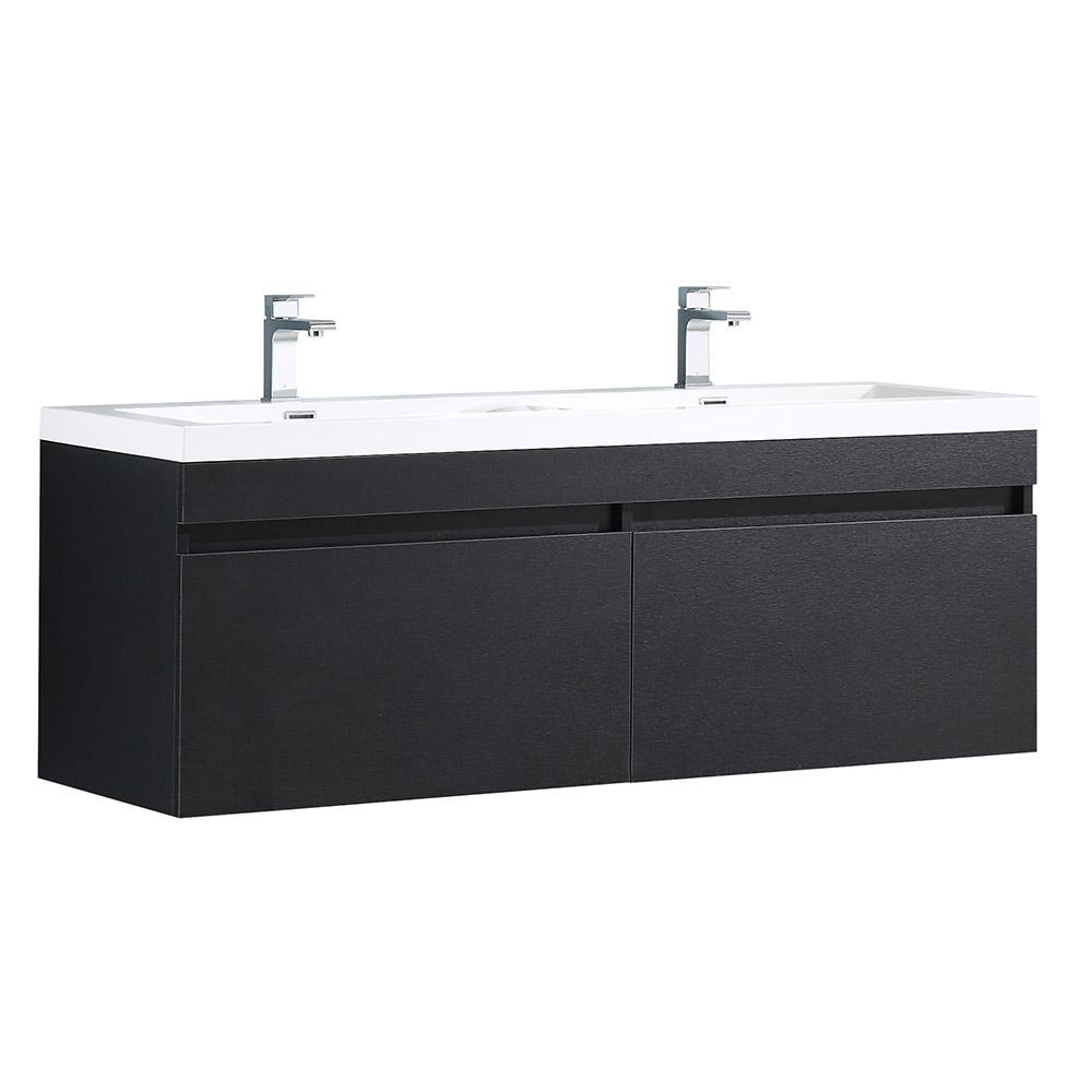Fresca Largo 57 in. Double Vanity in Black with Acrylic Vanity Top in White with White Basins