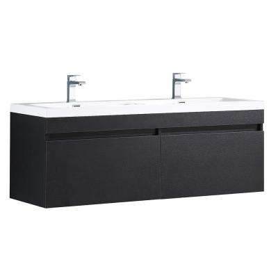 Largo 57 in. Double Vanity in Black with Acrylic Vanity Top in White with White Basins