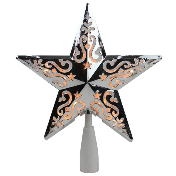 8.5 in. Silver Star Cut-Out Design Christmas Tree Topper - Clear Lights