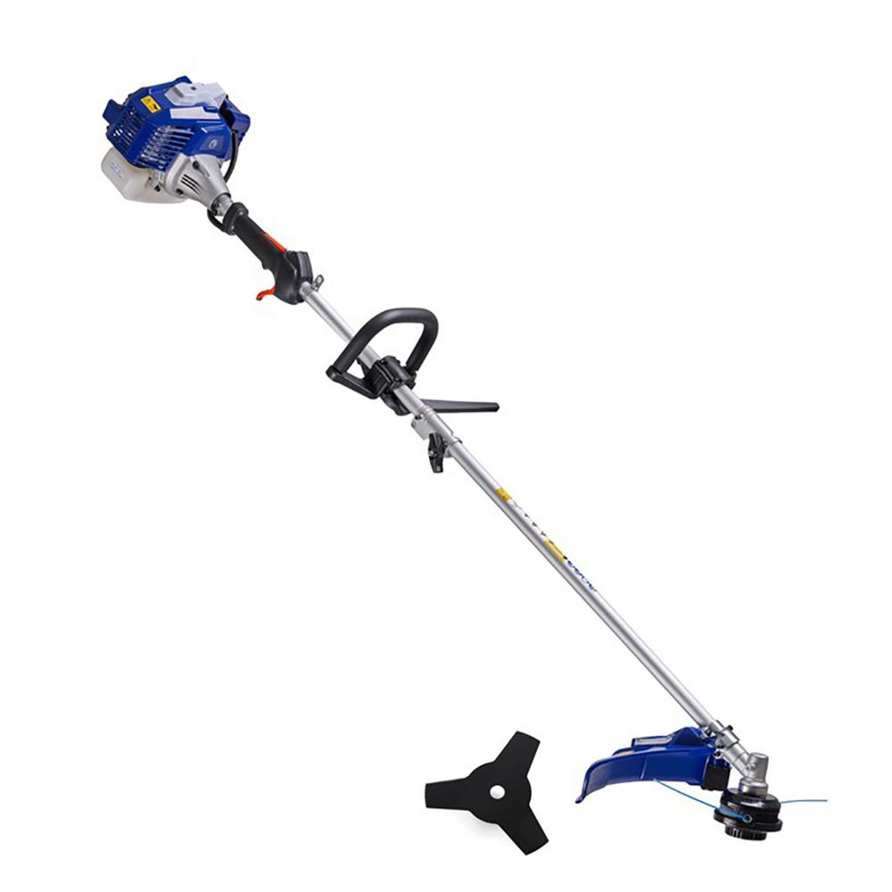 Badger 26 cc 2-Cycle 2-in-1 Gas Full Crank Straight Shaft Grass Trimmer with Brush Cutter Blade and Bonus Harness