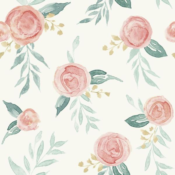 Watercolor Roses Paper Strippable Wallpaper (Covers 56 sq. ft.)
