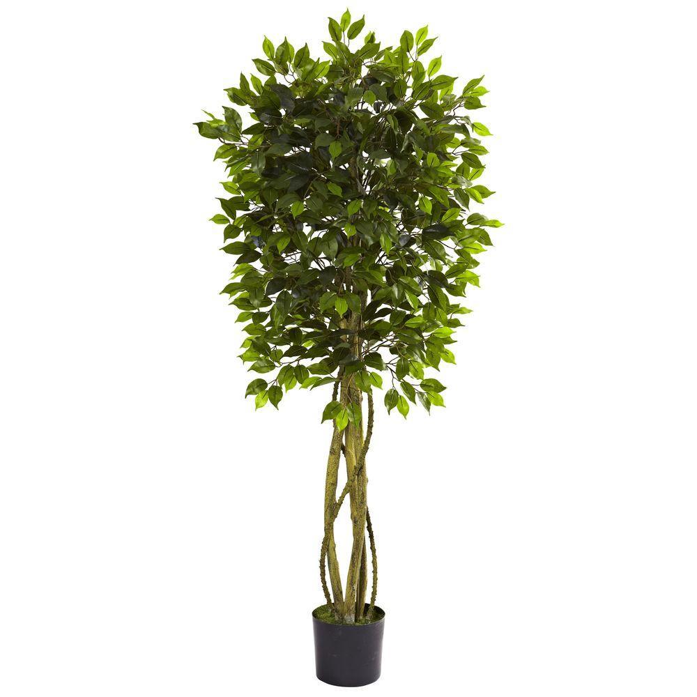 Nearly Natural 55 Ft Uv Resistant Indooroutdoor Ficus Tree 5380