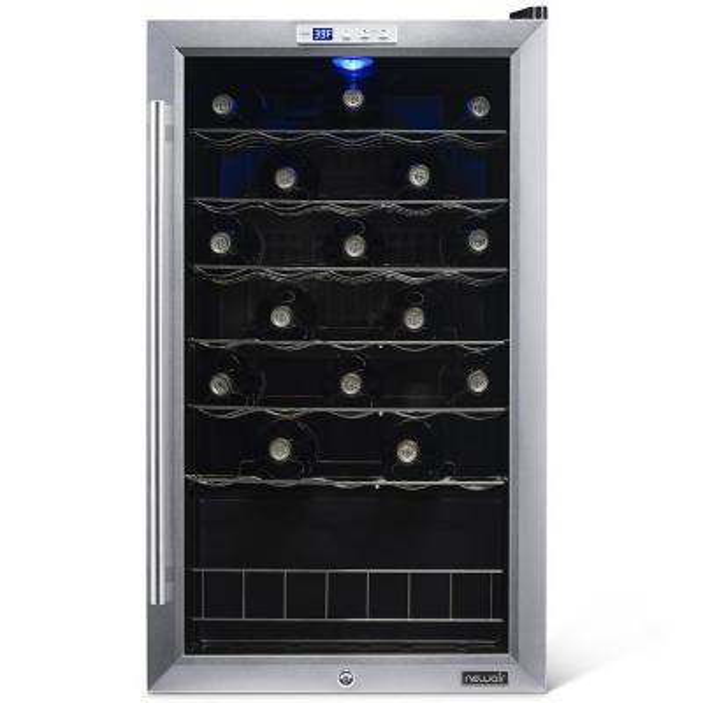 Premium Single Zone 33-Bottle Freestanding Cellar Refrigerator Compressor Wine Cooler with Lock Key - Stainless Steel