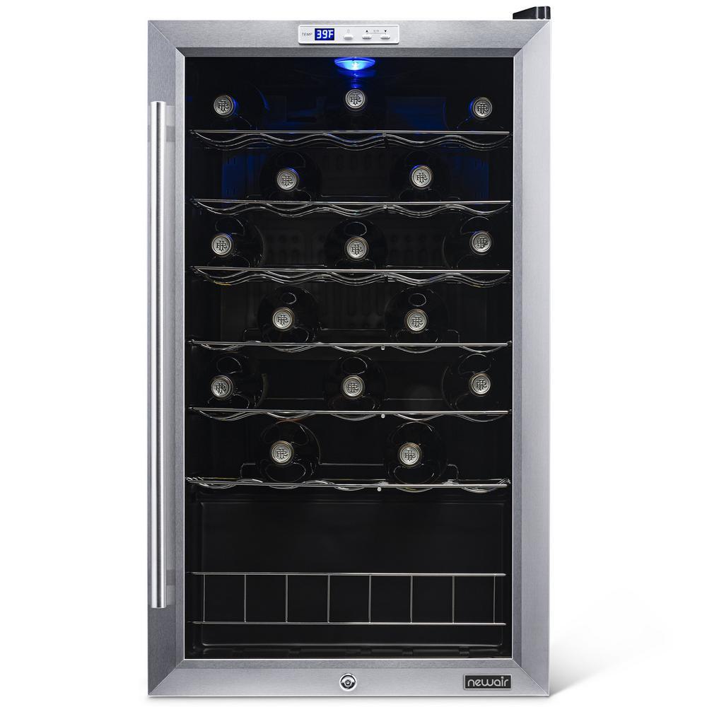 Single Zone 33-Bottle Freestanding Wine Cooler Fridge with Exterior Digital Thermostat & Chrome Racks - Stainless Steel