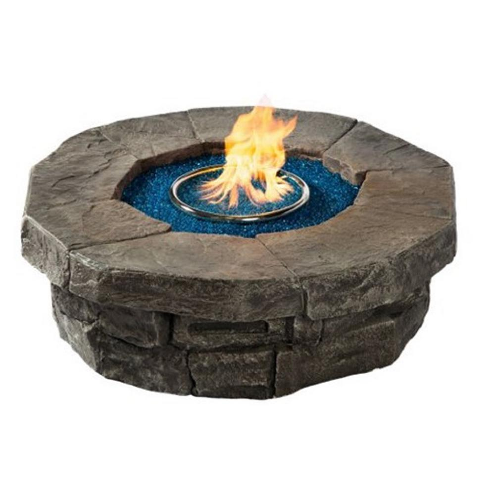 Dragon 42 in. W x 18 in. H Round MGO Stone with Top Propane - Dragon 42 In. W X 18 In. H Round MGO Stone With Top Propane Fire Pit