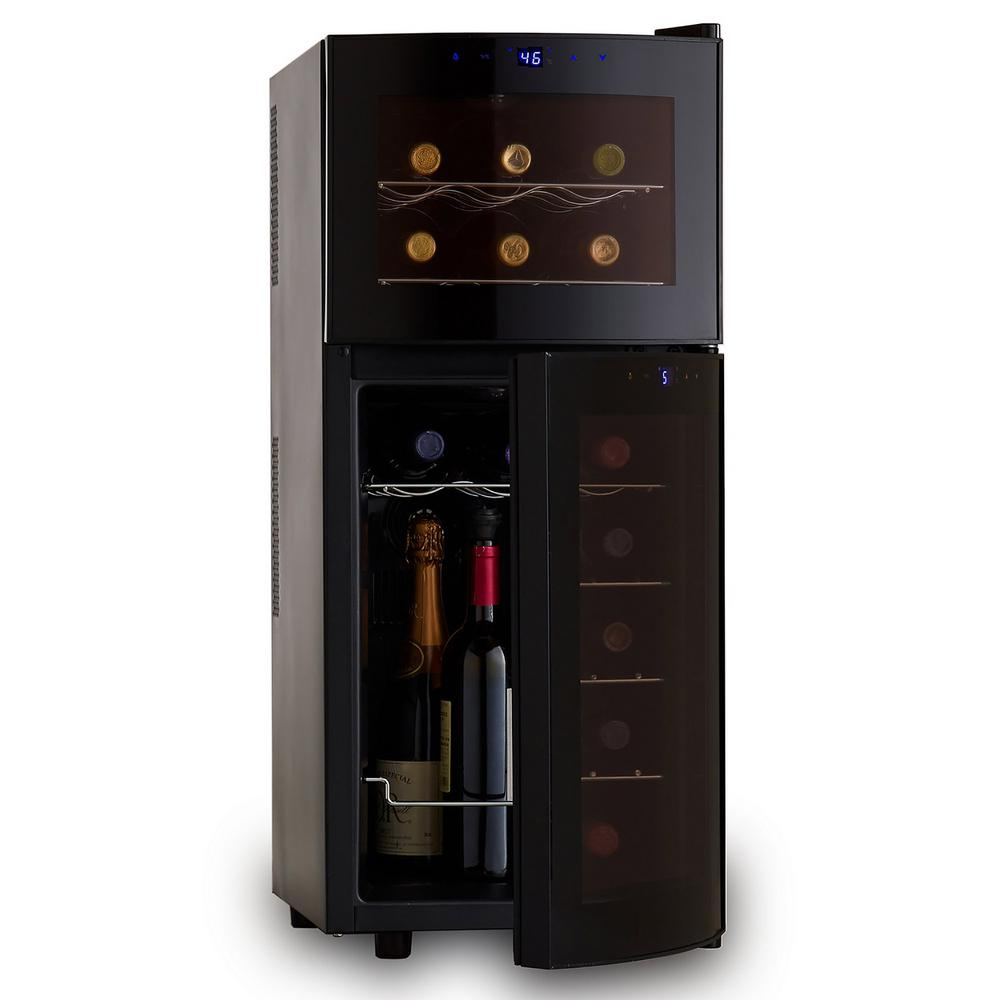 Wine Enthusiast Silent 21-Bottle Dual Zone Wine Refrigerator with Curved Doors-272 03 19 10 - The Home Depot
