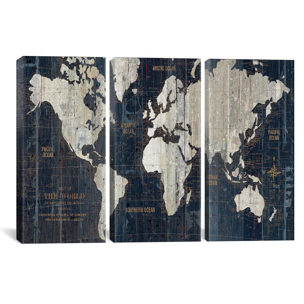 """Old World Map Blue"" by Wild Apple Portfolio Canvas Wall Art"