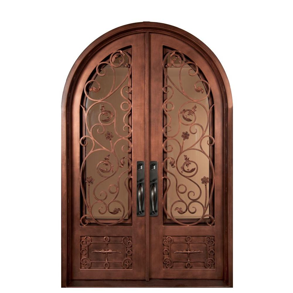 Iron Doors Unlimited 62 in. x 82 in. Fero Fiore Classic 3/4 Lite Painted Bronze Decorative Wrought Iron Prehung Front Door
