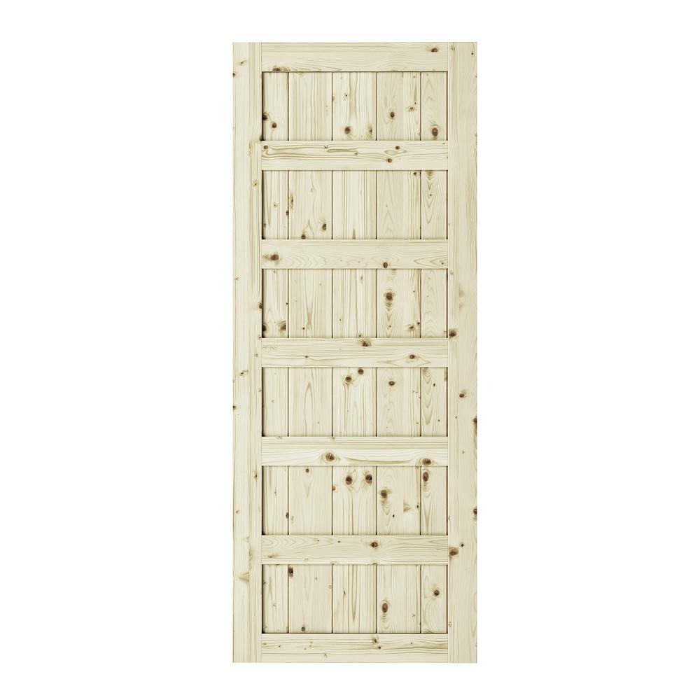42 in. x 84 in. Shaker 6-Panel Unfinished Pine Interior Barn Door Slab