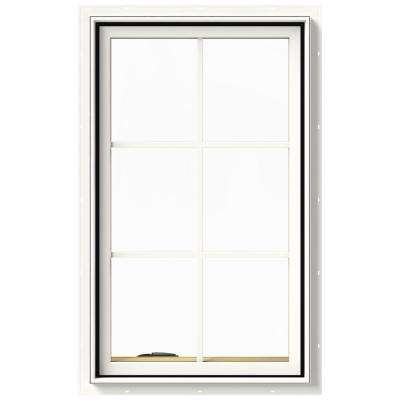 24 in. x 40 in. W-2500 Series White Painted Clad Wood Left-Handed Casement Window with Colonial Grids/Grilles