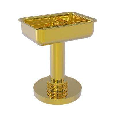 Vanity Top Soap Dish with Dotted Accents in Polished Brass