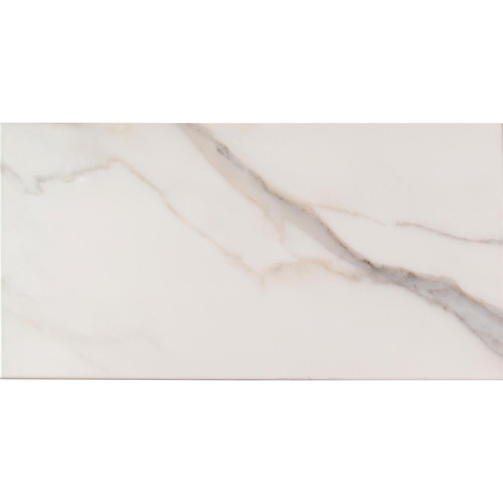 Adella Calacatta 12 in. x 24 in. Glazed Ceramic Wall Tile