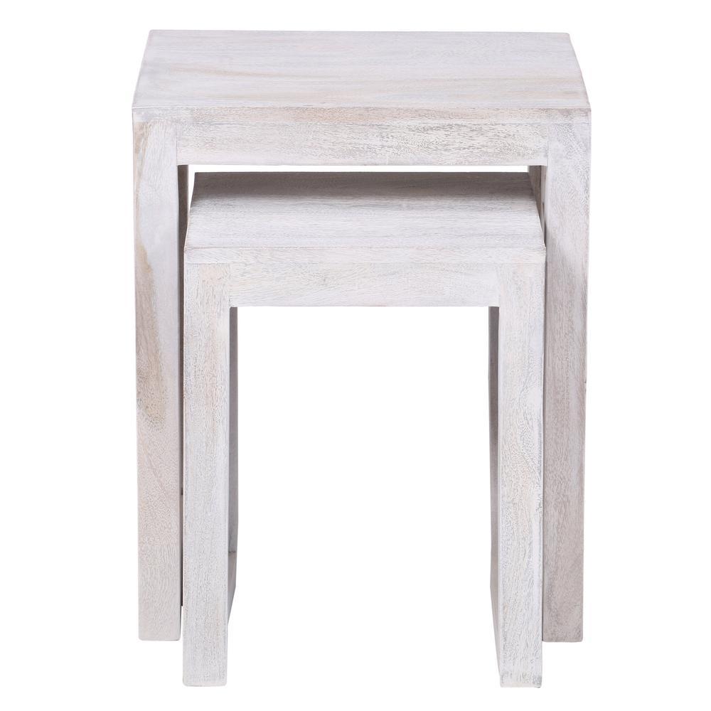 Maharaja Sandblasted White 2-Piece Nesting End Table