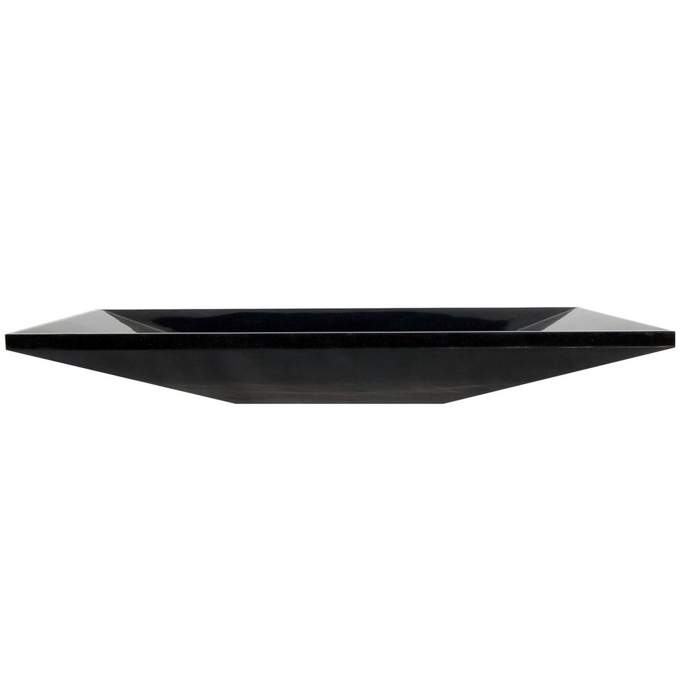 Ultra Modern Vessel Sink in Polished Black Granite