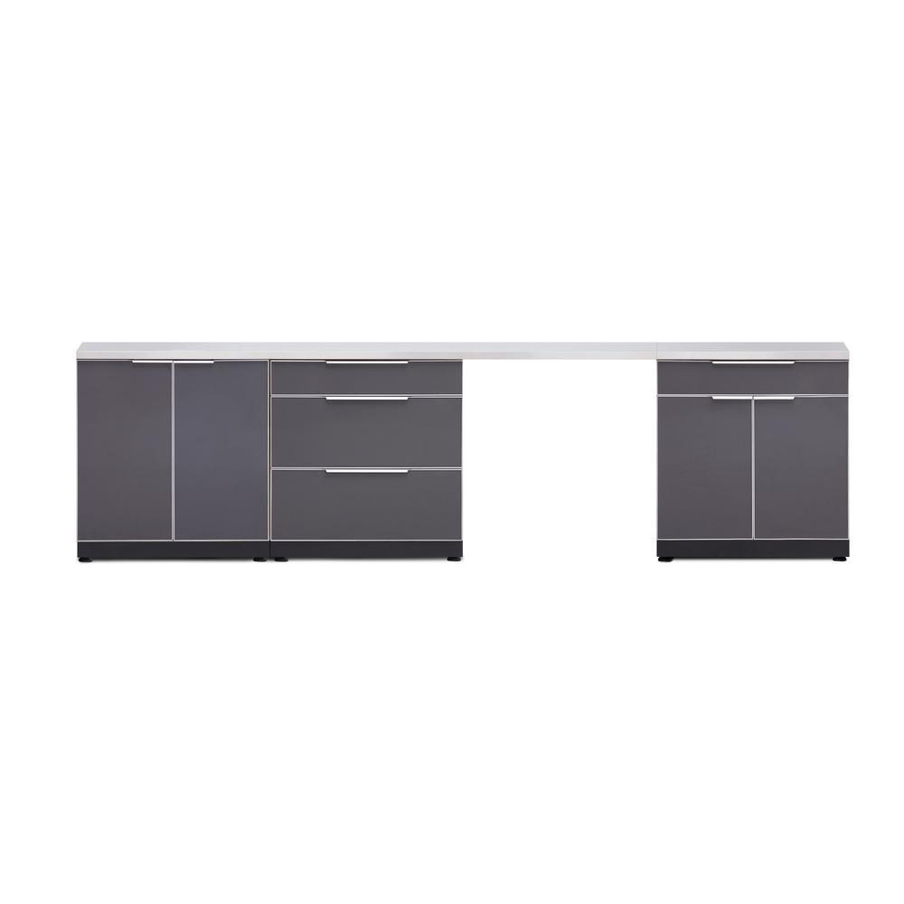 Aluminum 5 piece 120 in w x 36 5 in h x 24 in d outdoor kitchen cabinet set