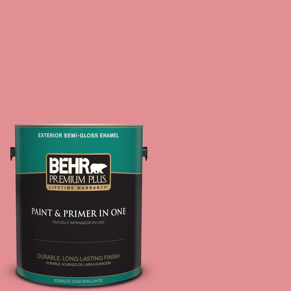 BEHR Premium Plus 1-gal. #140D-4 Fresh Pink Semi-Gloss Enamel Exterior Paint